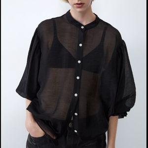 NWT Zara Organza Blouse Jewel Buttons Black